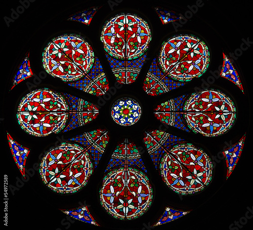 Rose window. Stained glass.