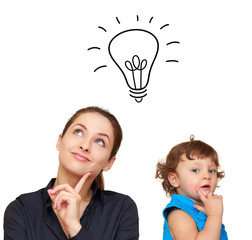 Thinking young woman and cute child with idea bulb above isolate