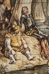 Tile, Don Quixote, ceramics from Talavera de la Reina, Toledo, S