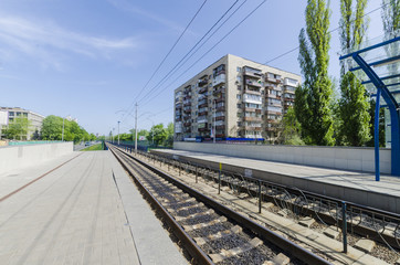 Stop with the platform and rails for high-speed rail Kiev