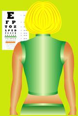 Woman taking an eye vision test