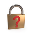 Padlock with question mark