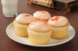 Strawberry iced cupcakes