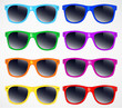 set of sunglasses vector illustration background