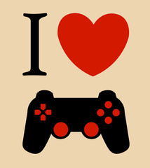 print I love gaming vector illustration background