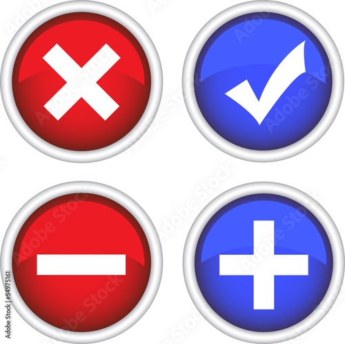 Permission buttons set, vector illustration
