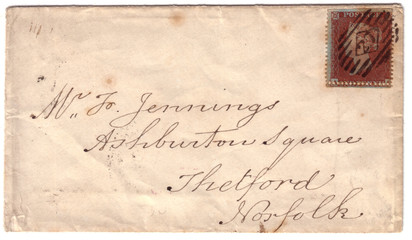 Antique English letter envelope