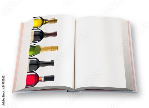 Open  book (with  five wine bottle)