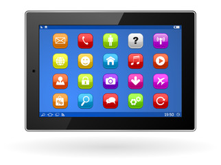 tablet computer pc with apps icon set