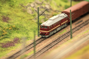 A freight train in motion
