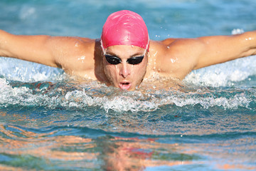 Swimming man athlete butterfly swimmer stroke