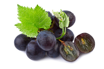 Dark grape in closeup isolated on white background