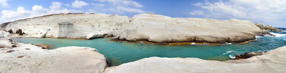 Sarakiniko beach in beautiful island of Milos, Greece .