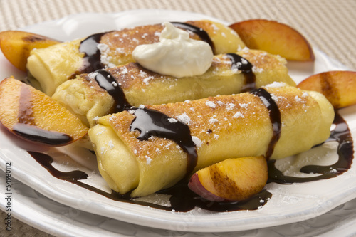 Delicious Cheese Blintzes in Closeup