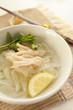 Vietnamese food, chicken pho rice noodles