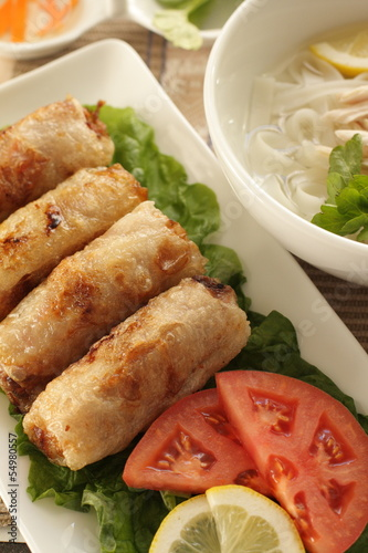 vietnamese food, gourmet spring roll served with vegetable