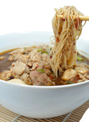 Asian noodles with pork and vegetables