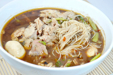 Pork noodle soup of thailand