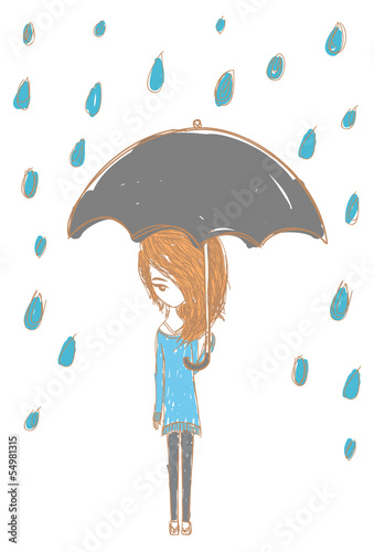 Girl in the rain with stylish design