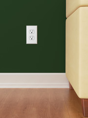 American power outlet on green wall