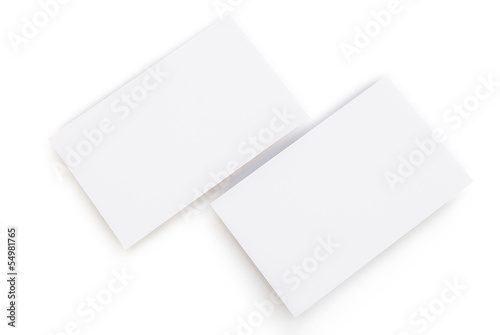 blank business cards on white with clipping path