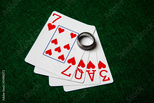 Love cards with wedding ring