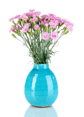 Many small pink cloves in blue vase isolated on white