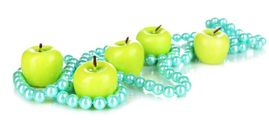 Aroma apple candles with beads isolated on white