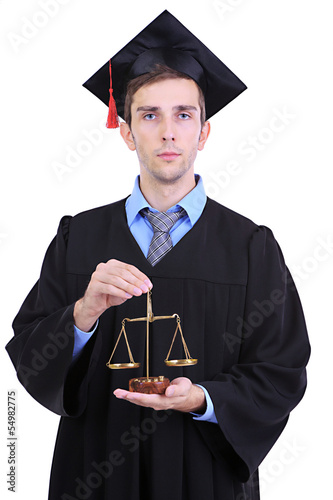 Young graduate lawyer isolated on white
