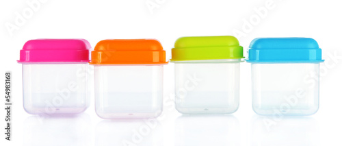 Empty plastic containers isolated on white