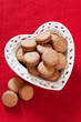 Heart shaped plate with homemade cookies, selective focus