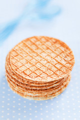 Crisp waffle with bran, selective focus