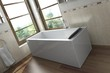 Modern design bathtub in front of windows