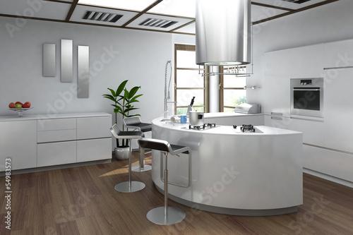 Modern luxury kitchen interior with bar stool