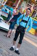 Young man wearing traditional Bavarian Lederhosen
