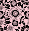 Black delicate floral lace on pink seamless pattern, vector