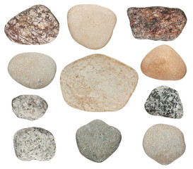 various color stones are isolated on a white background