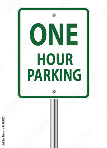 One hour parking traffic sign