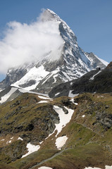 Matterhorn above path near Schwarzsee