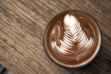 hot mocha serving on wooden table