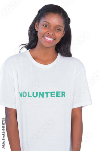 Smiling young woman wearing volunteer tshirt