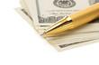 pen on dollar money banknotes