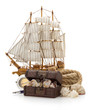 treasure box and sea concept on white
