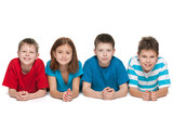 Four kids on the white background