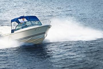 Man boating on lake