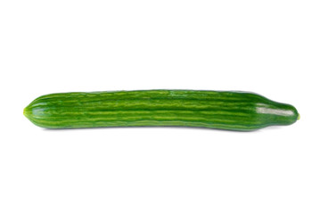 Fresh long cucumber over a white background