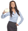 Portrait of a beautiful businesswoman holding a white card
