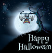 Blue Halloween Moon Bat Background