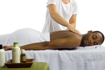 masseuse showing off spa products for men