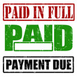 Paid in full, paid and payment due